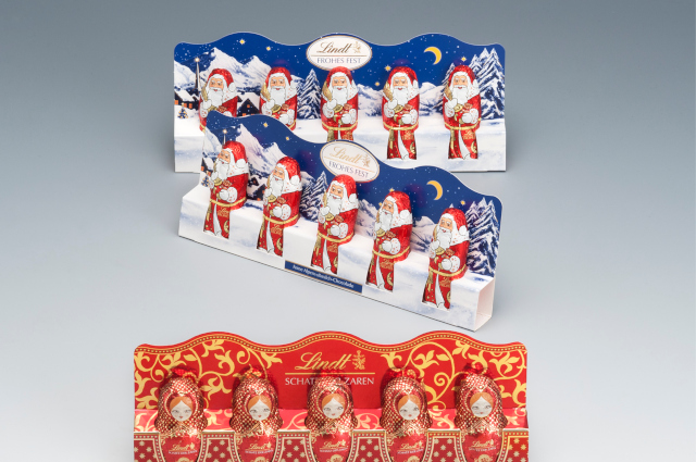 Our Lindt packaging for little Santas and chocolate.