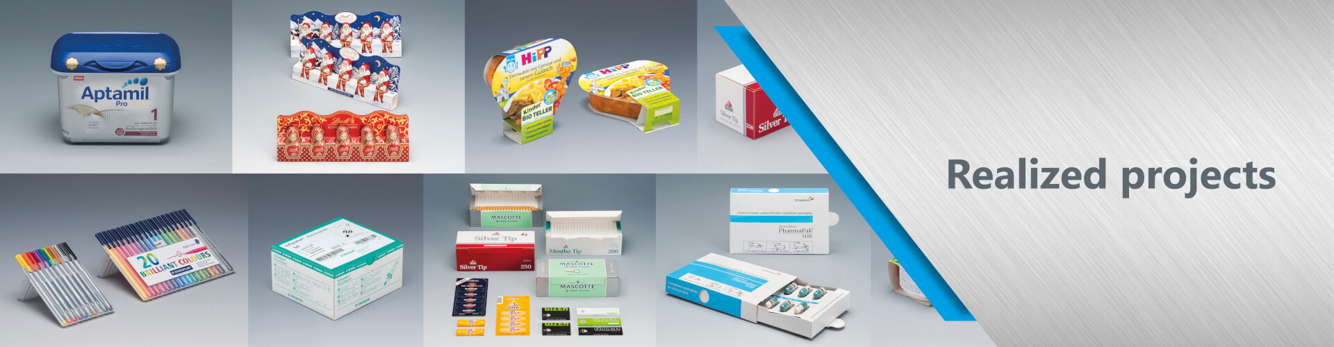 Our realized packagings range from stabilo folders to baby food.
